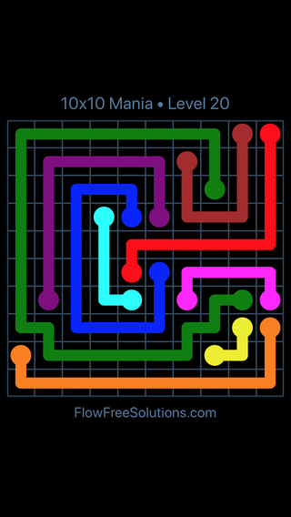Solution and Answer to the Puzzle for Flow Free 10x10 Mania Level 20