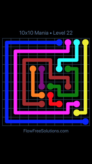 Solution and Answer to the Puzzle for Flow Free 10x10 Mania Level 22