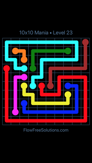 Solution and Answer to the Puzzle for Flow Free 10x10 Mania Level 23