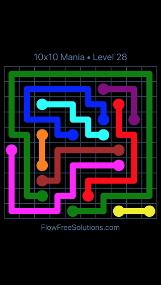 Solution and Answer to the Puzzle for Flow Free 10x10 Mania Level 28