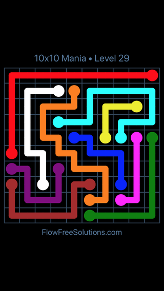 Solution and Answer to the Puzzle for Flow Free 10x10 Mania Level 29
