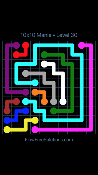 Solution and Answer to the Puzzle for Flow Free 10x10 Mania Level 30