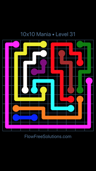 Solution and Answer to the Puzzle for Flow Free 10x10 Mania Level 31
