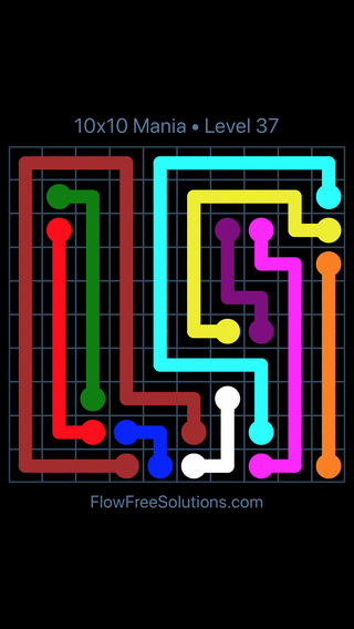 Solution and Answer to the Puzzle for Flow Free 10x10 Mania Level 37