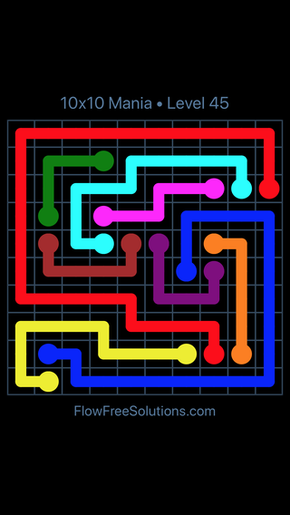 Solution and Answer to the Puzzle for Flow Free 10x10 Mania Level 45