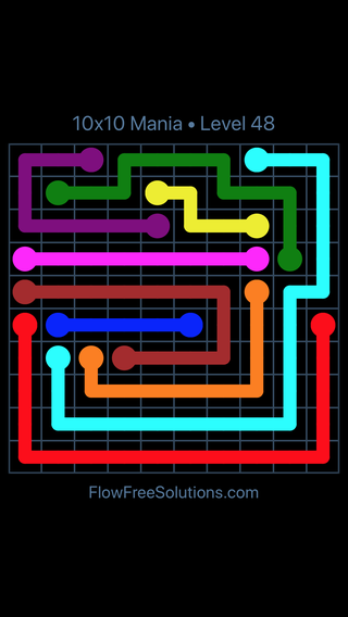 Solution and Answer to the Puzzle for Flow Free 10x10 Mania Level 48