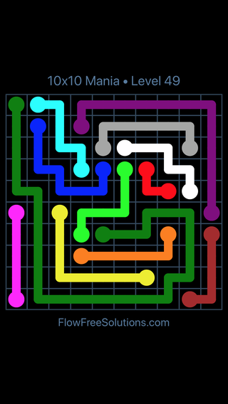 Solution and Answer to the Puzzle for Flow Free 10x10 Mania Level 49