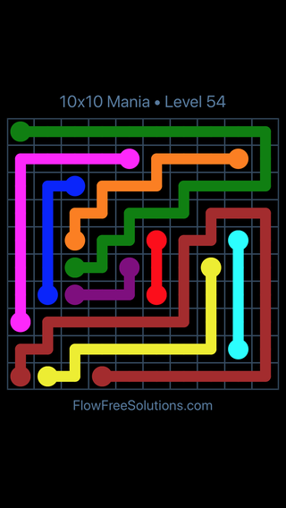Solution and Answer to the Puzzle for Flow Free 10x10 Mania Level 54