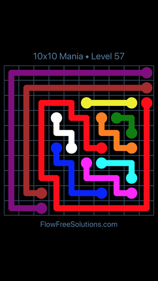 Solution and Answer to the Puzzle for Flow Free 10x10 Mania Level 57