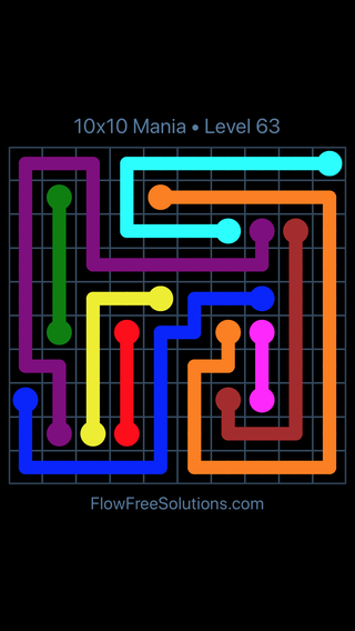 Solution and Answer to the Puzzle for Flow Free 10x10 Mania Level 63