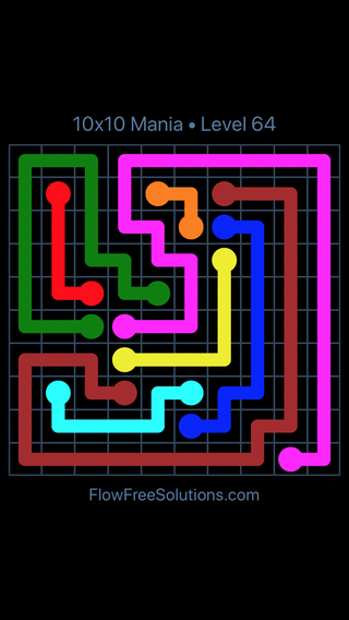 Solution and Answer to the Puzzle for Flow Free 10x10 Mania Level 64
