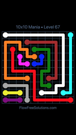 Solution and Answer to the Puzzle for Flow Free 10x10 Mania Level 67