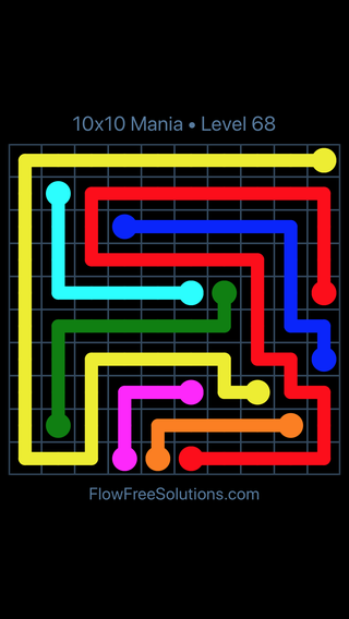 Solution and Answer to the Puzzle for Flow Free 10x10 Mania Level 68