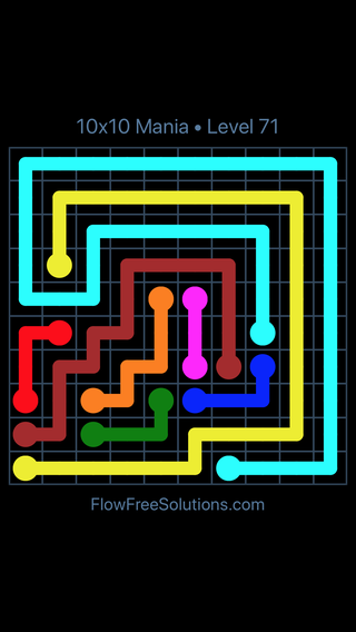 Solution and Answer to the Puzzle for Flow Free 10x10 Mania Level 71