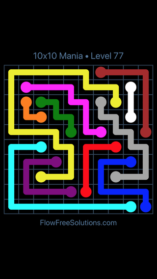 Solution and Answer to the Puzzle for Flow Free 10x10 Mania Level 77