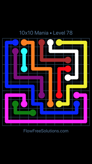 Solution and Answer to the Puzzle for Flow Free 10x10 Mania Level 78