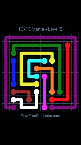 Solution and Answer to the Puzzle for Flow Free 10x10 Mania Level 8