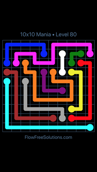 Solution and Answer to the Puzzle for Flow Free 10x10 Mania Level 80