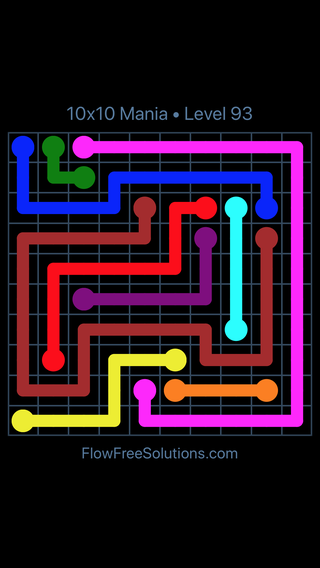 Solution and Answer to the Puzzle for Flow Free 10x10 Mania Level 93