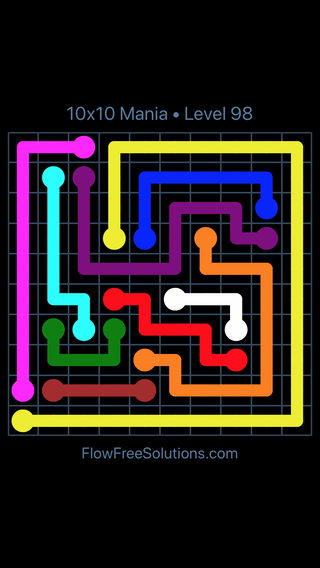 Solution and Answer to the Puzzle for Flow Free 10x10 Mania Level 98