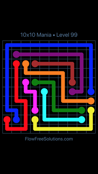 Solution and Answer to the Puzzle for Flow Free 10x10 Mania Level 99