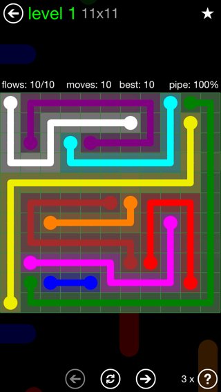 Solution and Answer to the Puzzle for Flow 11mania Pack Set 11x11 Level 1