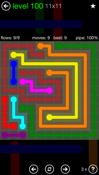 Solution and Answer to the Puzzle for Flow 11mania Pack Set 11x11 Level 100