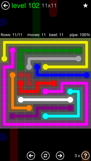 Solution and Answer to the Puzzle for Flow 11mania Pack Set 11x11 Level 102
