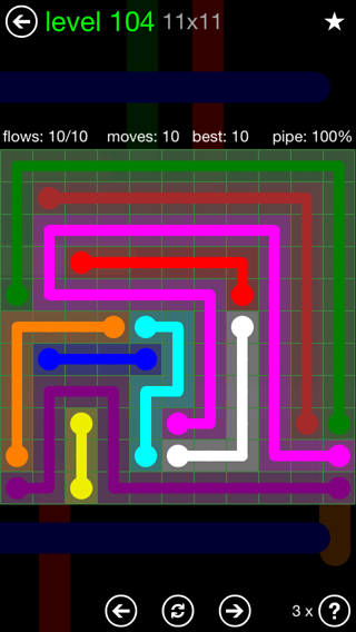 Solution and Answer to the Puzzle for Flow 11mania Pack Set 11x11 Level 104