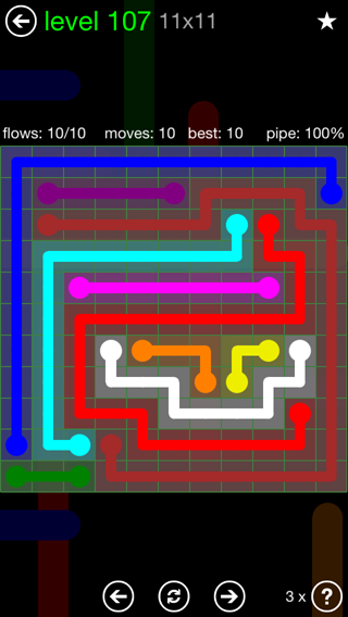 Solution and Answer to the Puzzle for Flow 11mania Pack Set 11x11 Level 107