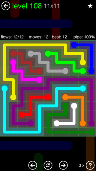 Solution and Answer to the Puzzle for Flow 11mania Pack Set 11x11 Level 108