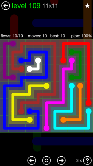 Solution and Answer to the Puzzle for Flow 11mania Pack Set 11x11 Level 109