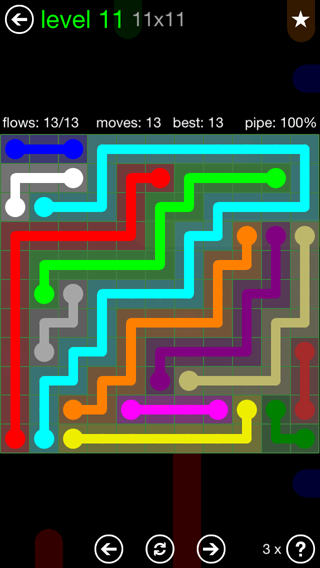 Solution and Answer to the Puzzle for Flow 11mania Pack Set 11x11 Level 11