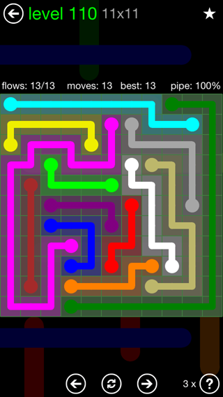 Solution and Answer to the Puzzle for Flow 11mania Pack Set 11x11 Level 110