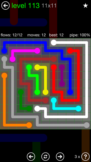 Solution and Answer to the Puzzle for Flow 11mania Pack Set 11x11 Level 113