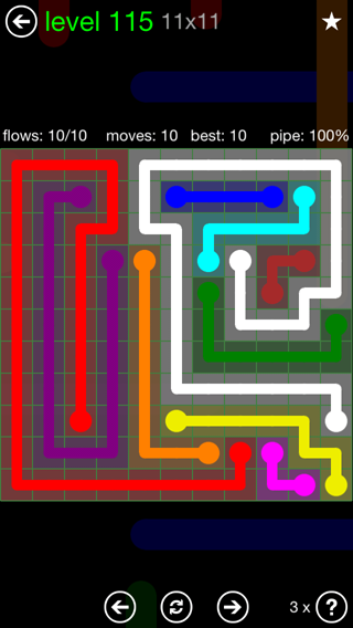 Solution and Answer to the Puzzle for Flow 11mania Pack Set 11x11 Level 115