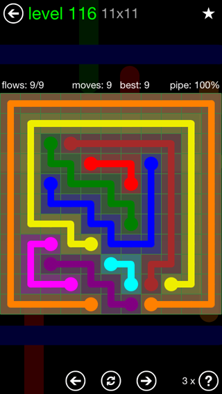 Solution and Answer to the Puzzle for Flow 11mania Pack Set 11x11 Level 116