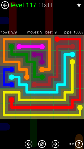 Solution and Answer to the Puzzle for Flow 11mania Pack Set 11x11 Level 117