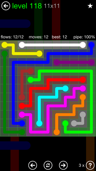 Solution and Answer to the Puzzle for Flow 11mania Pack Set 11x11 Level 118