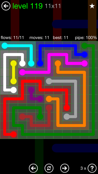 Solution and Answer to the Puzzle for Flow 11mania Pack Set 11x11 Level 119