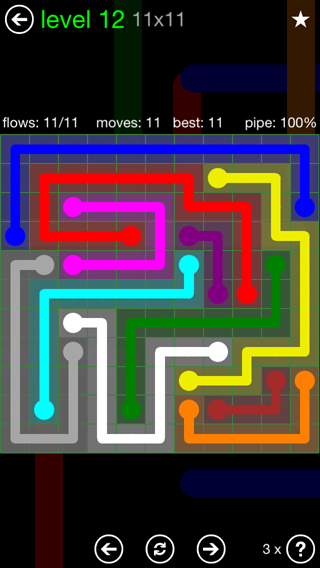 Solution and Answer to the Puzzle for Flow 11mania Pack Set 11x11 Level 12