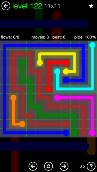 Solution and Answer to the Puzzle for Flow 11mania Pack Set 11x11 Level 122