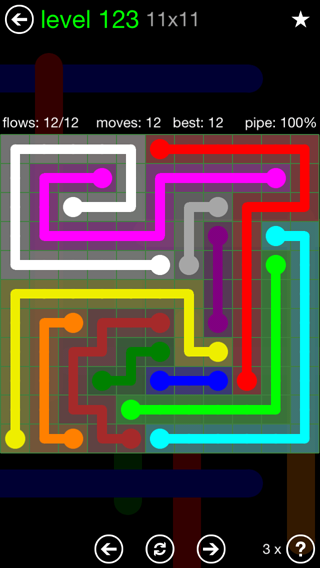 Solution and Answer to the Puzzle for Flow 11mania Pack Set 11x11 Level 123