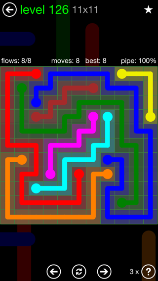 Solution and Answer to the Puzzle for Flow 11mania Pack Set 11x11 Level 126
