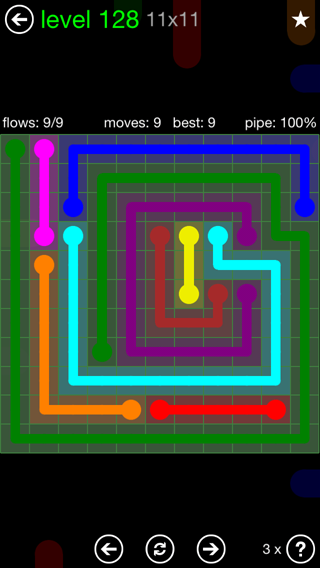 Solution and Answer to the Puzzle for Flow 11mania Pack Set 11x11 Level 128