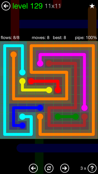 Solution and Answer to the Puzzle for Flow 11mania Pack Set 11x11 Level 129