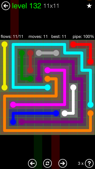 Solution and Answer to the Puzzle for Flow 11mania Pack Set 11x11 Level 132