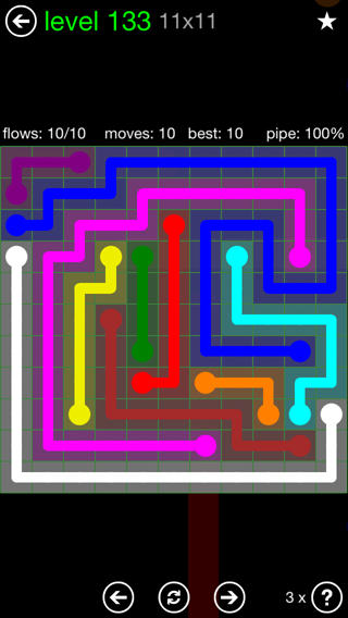 Solution and Answer to the Puzzle for Flow 11mania Pack Set 11x11 Level 133