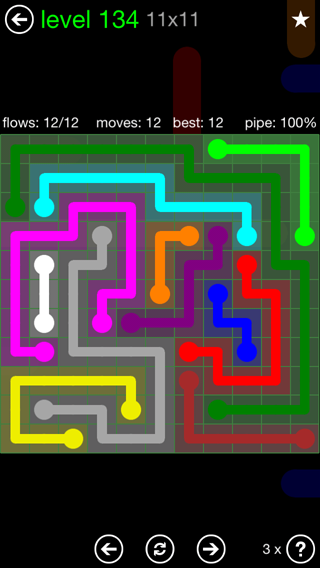 Solution and Answer to the Puzzle for Flow 11mania Pack Set 11x11 Level 134