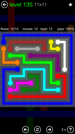 Solution and Answer to the Puzzle for Flow 11mania Pack Set 11x11 Level 135